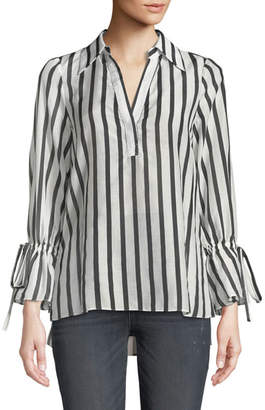 Alice + Olivia Geraldine Striped Bow-Sleeve Collared Tunic Top