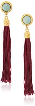 Ben-Amun Jewelry Silk Road Stone Gold-Plated Tassel Clip-On Earrings