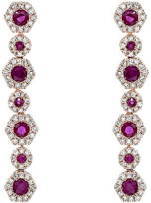 Diana M Fine Jewelry 14K Rose Gold 1.18 Ct. Tw. Diamond & Ruby Earrings