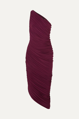 Norma Kamali Diana One-shoulder Ruched Stretch-jersey Dress - Purple