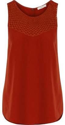 A.L.C. Quinn Silk-Blend Crochet-Paneled Crepe De Chine Top