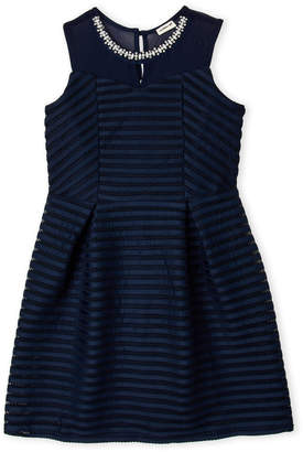 Monteau Girl (Girls 7-16) Embellished Neck Tonal Stripe Dress