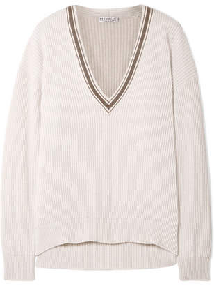 Brunello Cucinelli Bead-embellished Ribbed Cashmere Sweater - Ivory