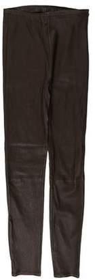 Massimo Dutti Mid-Rise Leather Pants