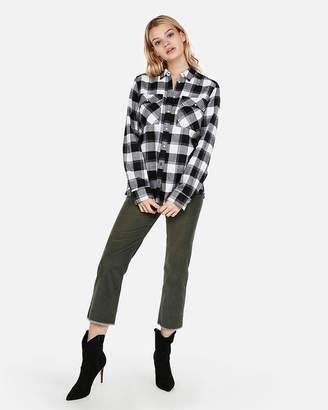 Express Petite Black Flannel Flap-Pocket Boyfriend Shirt