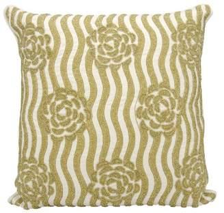 Nourison Kathy Ireland Rose Garden Gold Throw Pillow