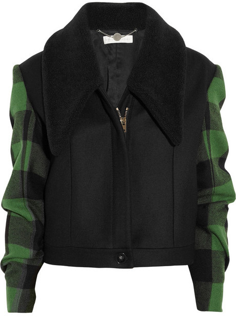 Stella McCartney Enid faux shearling and wool plaid jacket