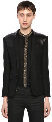 Saint Laurent Wool Jacket W/ Leather Details