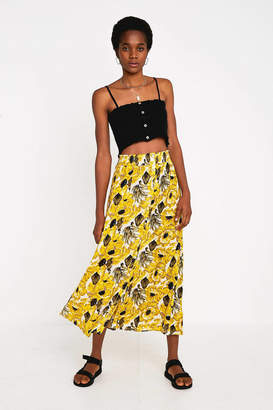Urban Outfitters Yellow Floral Button-Front Midi Skirt