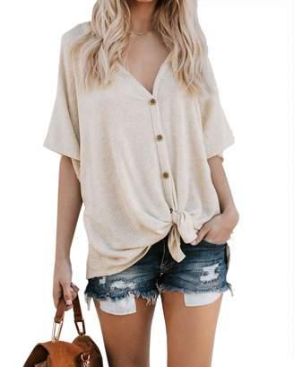446b137105 at Amazon Canada · Miatty Women Button Down Long Sleeve V Neck Soft Knit  Cardigan Sweater Waffle Top
