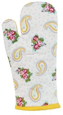 Homescapes Cotton Paisley And Dots Yellow White Oven Glove