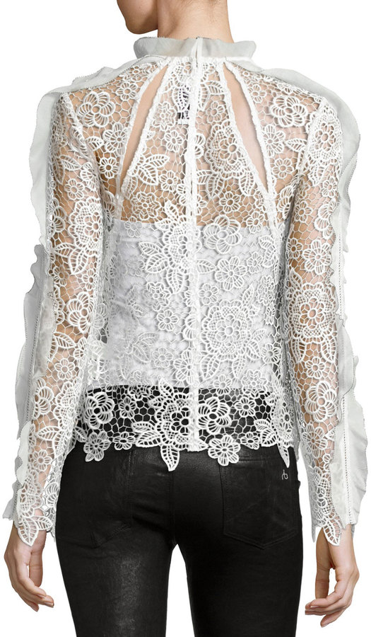 Self-Portrait Cutout Floral Guipure Lace Top 3