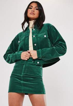 Missguided Green Co Ord Cord Puff Sleeve Cropped Jacket