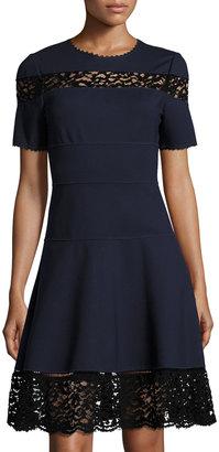 Rebecca Taylor Short-Sleeve Ponte Lace-Inset Dress, Navy $279 thestylecure.com