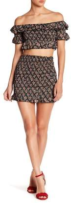 EMORY PARK Shirred Floral Mini Skirt