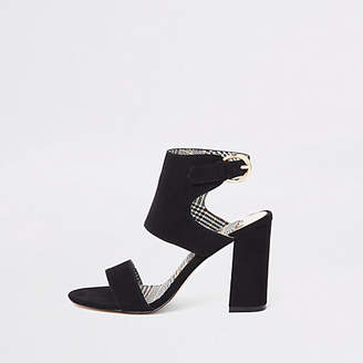 River Island Black wide fit faux suede block heel sandals