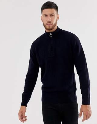 Barbour Holdan half zip jumper with elbow patches in navy