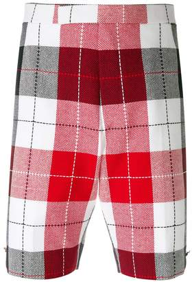 Thom Browne Classic Backstrap Short In Large Buffalo Check Summer Tweed