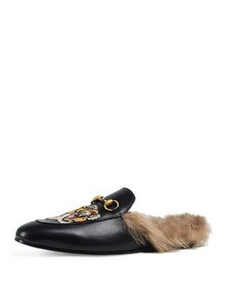 Gucci Princetown Fur-Lined Slipper w/Tiger Embroidery, Black $995 thestylecure.com