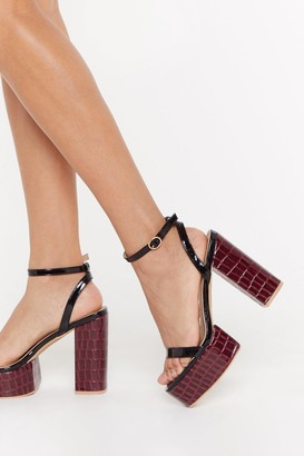 Nasty Gal Croc Hard in a Funky Place Faux Leather Platform Heels