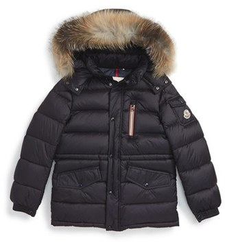 Boy's Moncler Lilian Water Resistant Down Parka With Genuine Fox Fur Trim $700 thestylecure.com