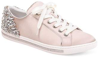 Badgley Mischka Women's Shirley Embellished Satin Low Top Lace Up Sneakers