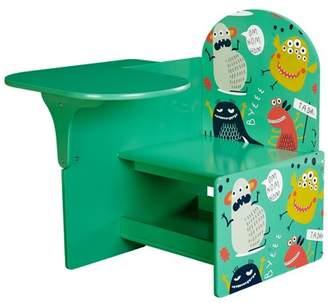 Senda Monsters Kids Writing Desk and Chair with Storage Shelf