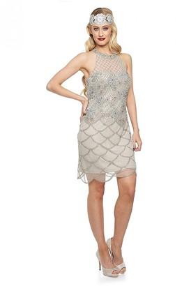 Gatsbylady London Maddie Halter Neck Dress in Silver