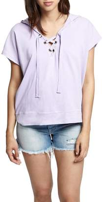 Sanctuary Beachcomber Lace-Up Cotton Short Sleeve Hoodie (Regular & Petite)