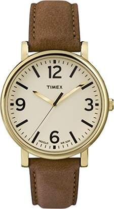 Timex Originals Unisex T2P527 Quartz Watch with Beige Dial Analogue Display and Brown Leather Strap