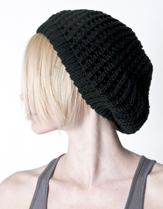 A.ok Black Loose Knit Double Layer Beret