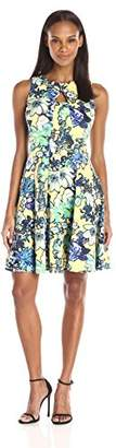 Julian Taylor Women's All Over Floral Printed Fit and Flare Dress