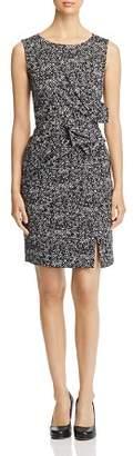 Paule Ka Bow-Detail Herringbone Jacquard Dress