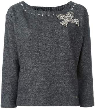 Twin-Set embellished bow sweater