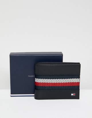 Tommy Hilfiger Icon Stripe Webbing Insert Mini Leather Wallet In Black