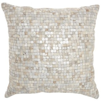 """Nourison Natural Leather Hide White/Silver Decorative Throw Pillow , 20"""" x 20"""""""