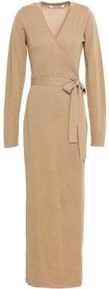Diane von Furstenberg Metallic Merino Wool-blend Maxi Wrap Dress