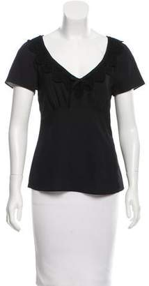 Philosophy di Alberta Ferretti Lace-Trimmed Short Sleeve Top w/ Tags