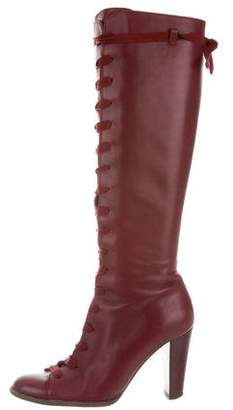 Philosophy di Alberta Ferretti Lace-Up Leather Knee-High Boots