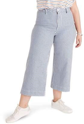 Madewell Emmett Herringbone Railroad Stripe Wide Leg Crop Pants (Regular & Plus Size)