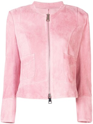 50201965a Pink Suede Jacket - ShopStyle UK