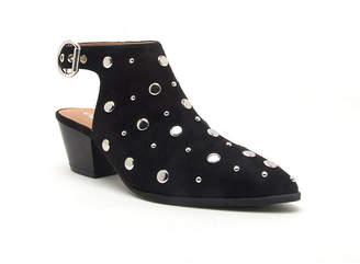 Qupid Womens Mystique-27 Booties Stacked Heel Buckle