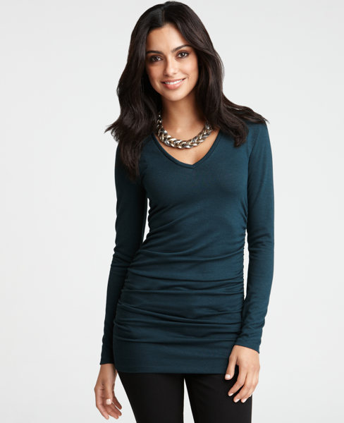 Ruched V-Neck Long Sleeve Tee