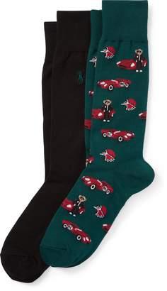 Ralph Lauren Race Car & Bears Sock 2-Pack