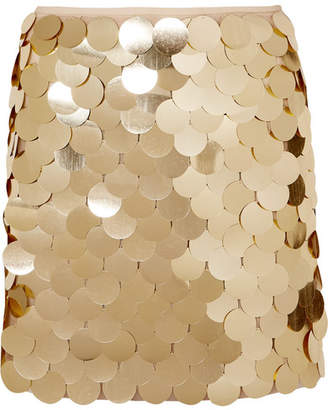 Sara Battaglia Sequined Tulle Mini Skirt - Gold