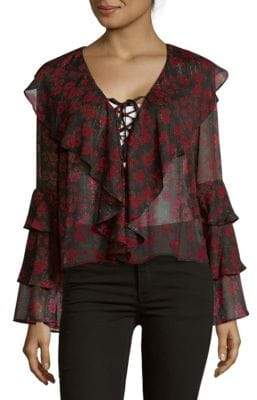 Endless Rose Night Blossom Ruffle Blouse