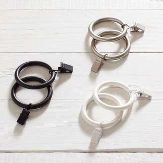 Pottery Barn Teen Classic Steel Curtain Rings with Clips 1.25'', Dark Iron