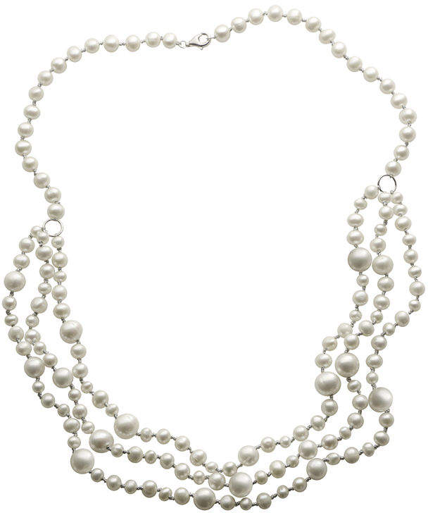 JCPenney FINE JEWELRY Cultured Freshwater Pearl Multi-Row Sterling Silver Necklace