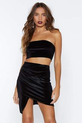 Nasty Gal In Touch Velvet Crop Top and Skirt Set