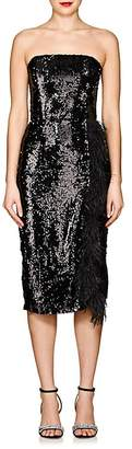 16ARLINGTON Women's Feather-Embellished Sequined Strapless Dress